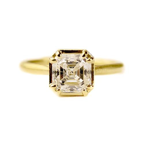 18K yellow gold signature prong set Asscher cut diamond ring