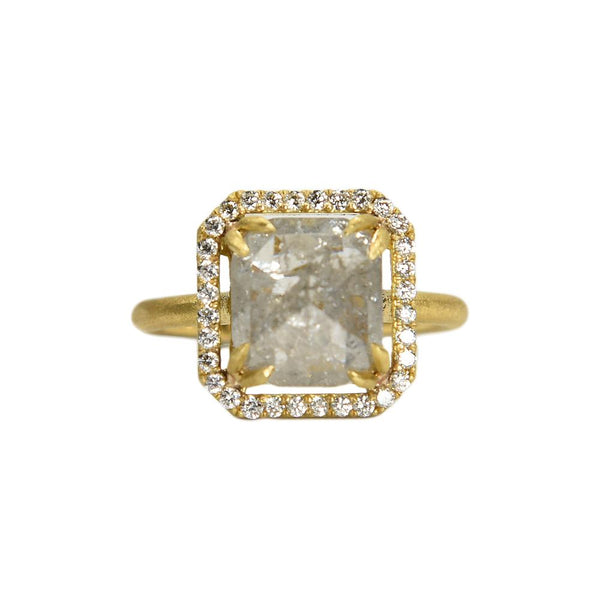 18K yellow gold signature ring with icey Asscher cut diamond center and round diamond halo