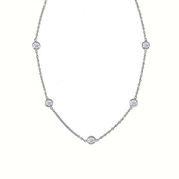 14K white gold diamonds by the yard necklace with 5 round brilliant cut diamonds