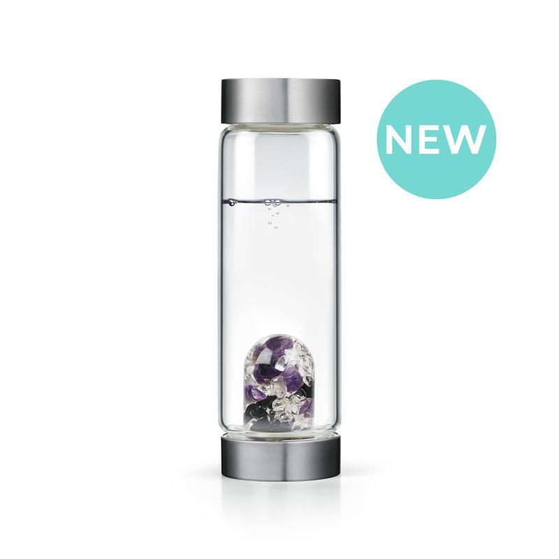 Five Elements Gem Water Bottle with black tourmaline, amethyst, and clear quartz
