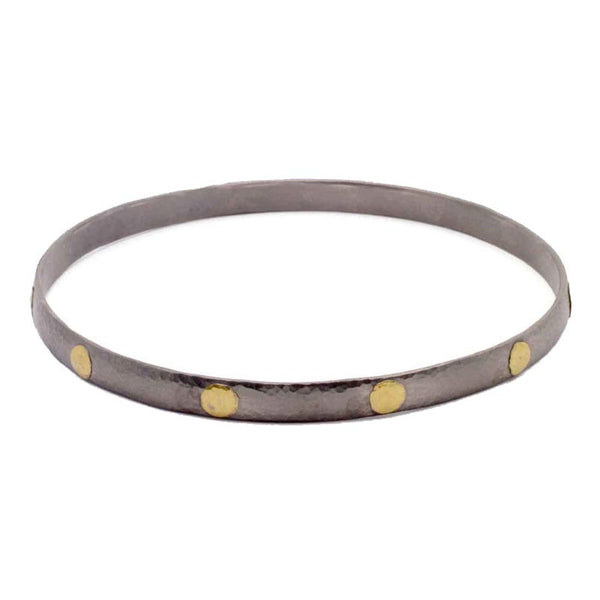 Gurhan Oxidized Sterling Silver and 24K Gold Bangle Bracelet