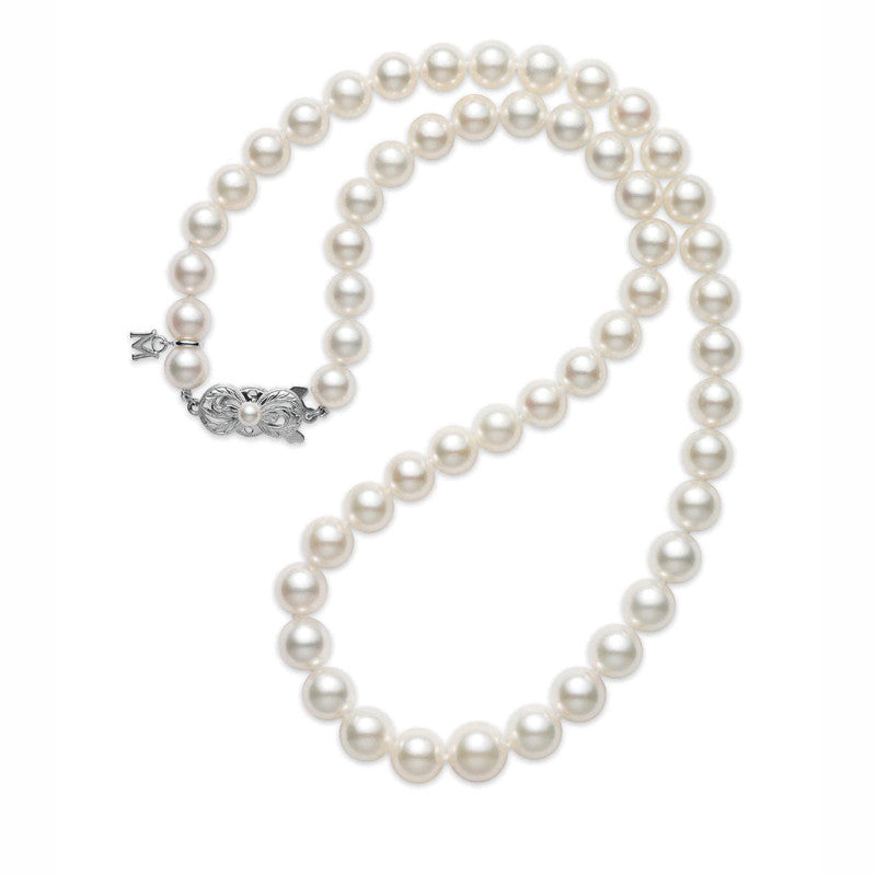 Mikimoto Akoya necklace with 7.0 x 9.0mm cultured pearl graduated strand, 18k white gold Mikimoto clasp