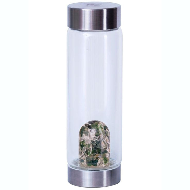 Naturopathic bottle for tea with green moss agate and clear quartz