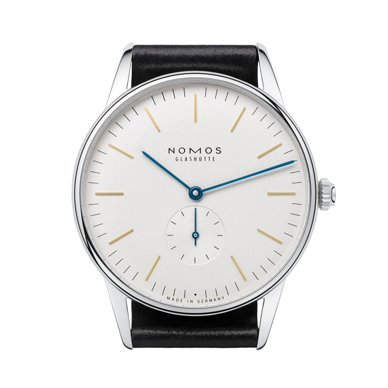 Nomos Orion 38 Stainless Steel Watch Ref. 384 with blue hands, made in Germany