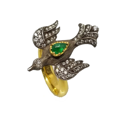 Arman Sarkisyan Emerald and Diamond Bird Ring