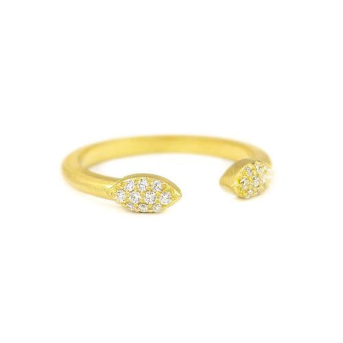 18K yellow gold split pave Petal ring with pave set diamonds