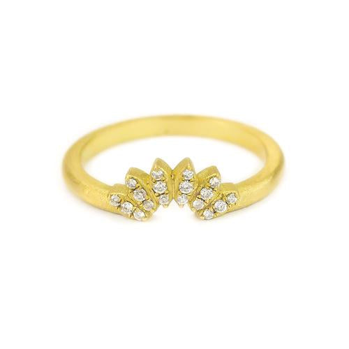 Samantha Louise petal tracer ring with 3 pave diamonds on each yellow gold petal