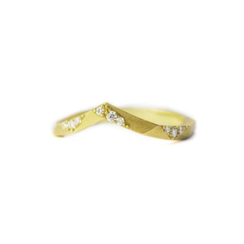 Samantha Louise star tracer ring with tiny diamond and yellow gold floral pattern details