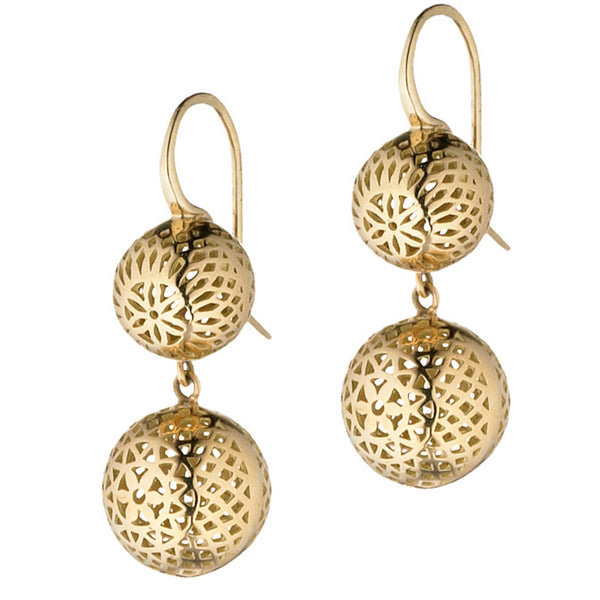 Ray Griffiths Double 18K Gold Crownwork Ball Drop Earrings