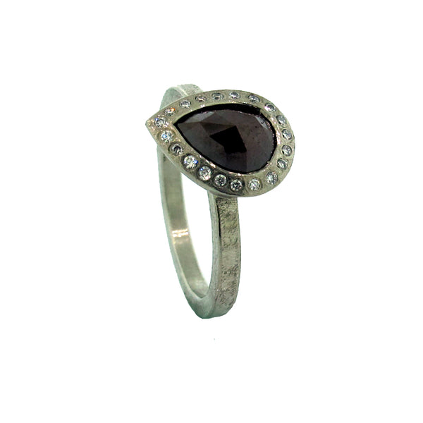 Todd Reed palladium diamond ring with brown red diamond pear-shaped solitaire in diamond bezel
