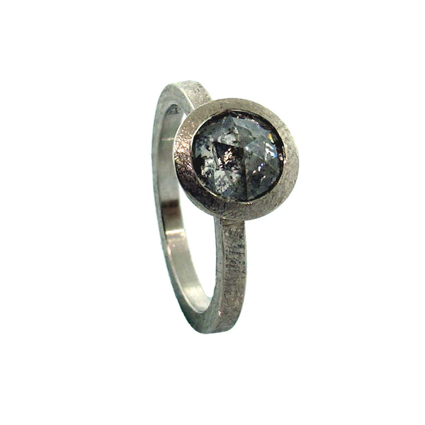 Todd Reed palladium diamond solitaire ring with rose cut, bezel set  gray diamond