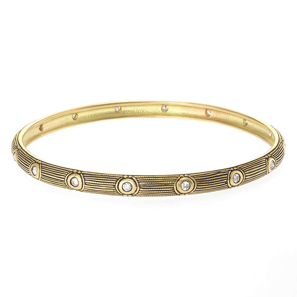 Alex Sepkus Diamond and 18K Gold Bangle Bracelet