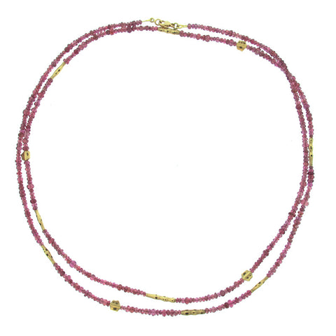 Alex Sepkus Raspberry Spinel and 18K Yellow Gold Bead Necklace