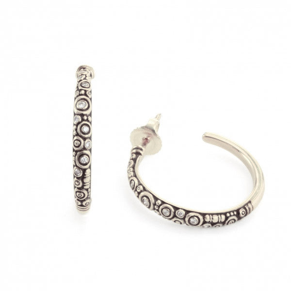 Alex Sepkus Diamond and Platinum Hoop Earrings