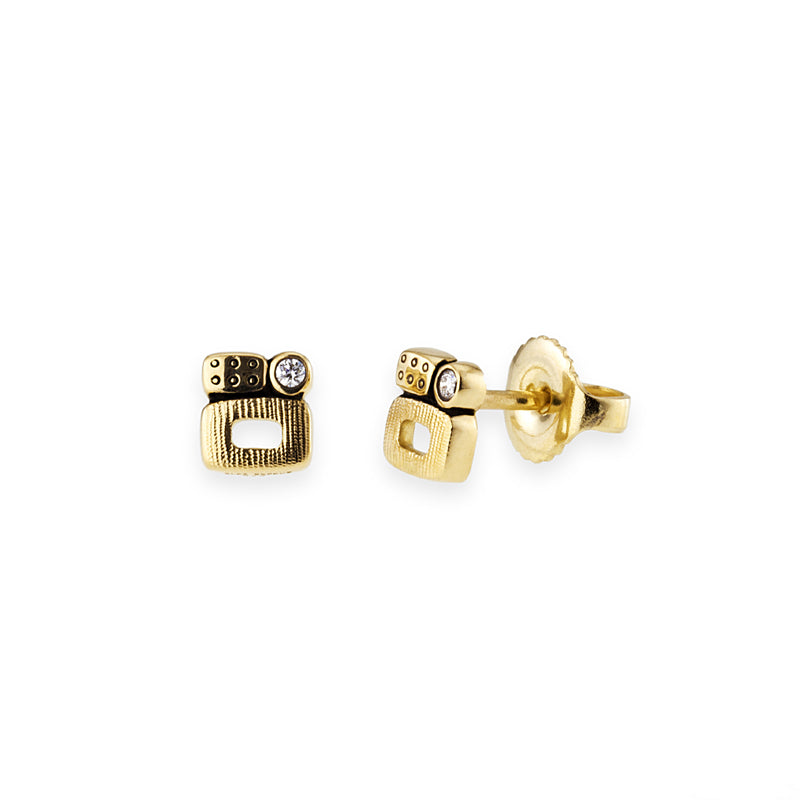 "18K yellow gold ""Little Windows"" diamond stud earrings"