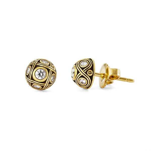 Alex Sepkus 18K Gold Half Dome Diamond Stud Earrings