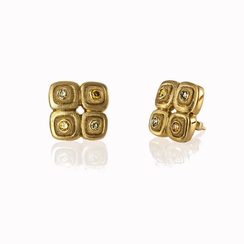 Alex Sepkus Natural Colored Diamond and 18K Yellow Gold Pebble Earrings E-80
