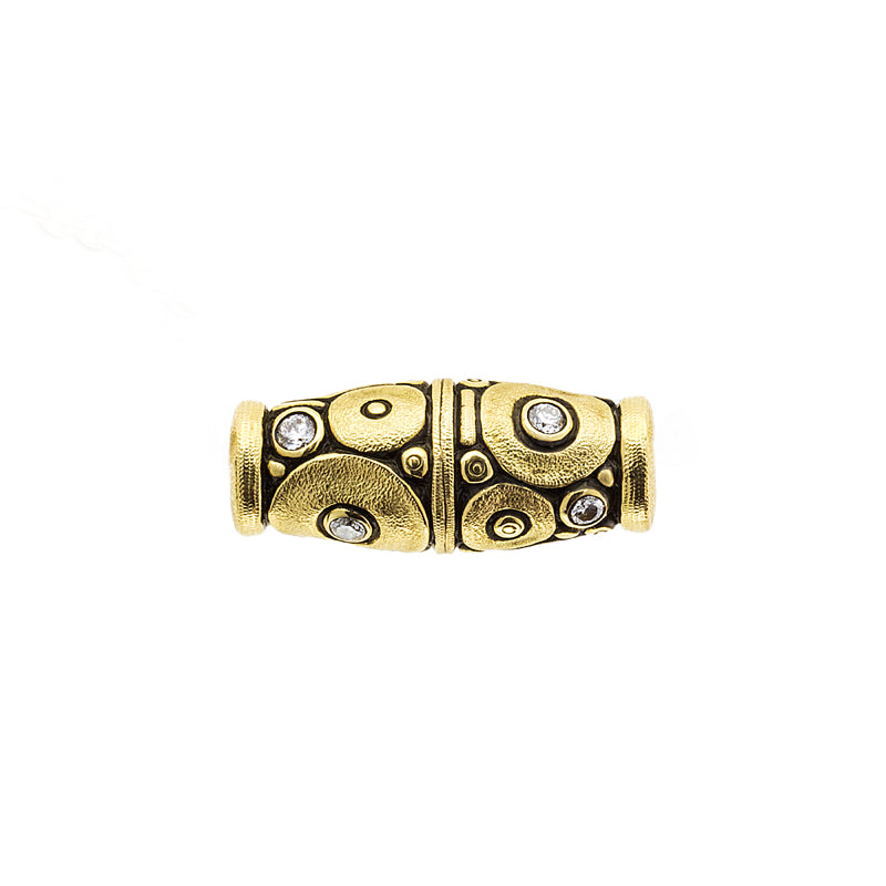 Alex Sepkis Orchard clasp in yellow gold with diamonds set in gold circles