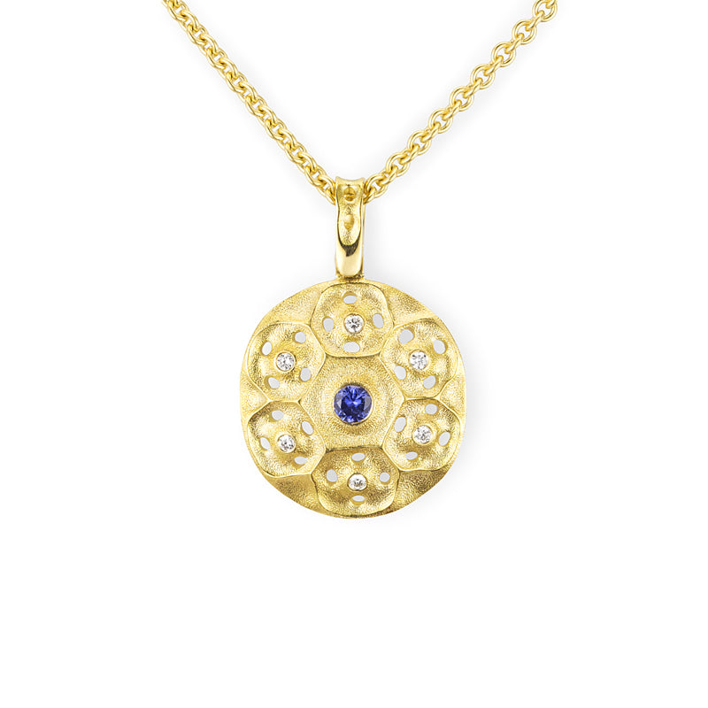 "Alex Sepkus ""Rose Window"" Sapphire and Diamond Pendant"