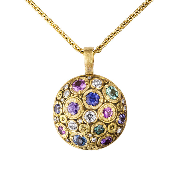"18K yellow gold ""Blooming Hill"" pendant with diamond and gemstone mix"