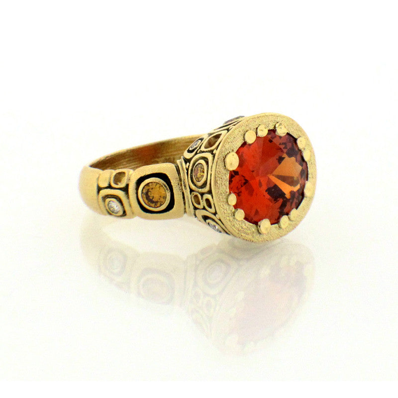 Alex Sepkus Spessartite Garnet Fancy Diamond and 18K Yellow Gold Little Windows Ring R-108MDC