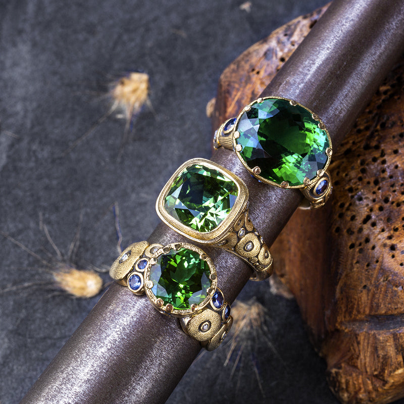 "Alex Sepkus Green Tourmaline, Sapphire and Diamond ""Little Windows"" Ring paired with green gem rings"