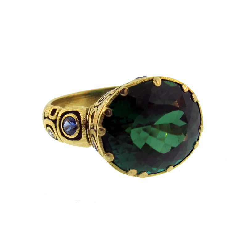 "Alex Sepkus Green Tourmaline, Sapphire and Diamond ""Little Windows"" Ring with large green gem"