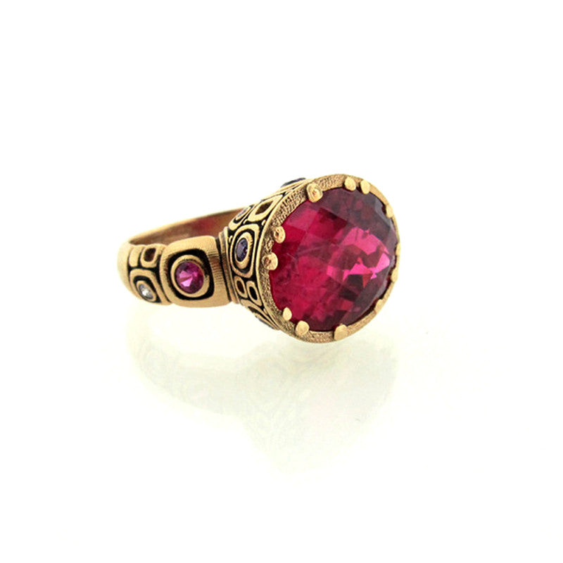 Alex Sepkus Rubellite Tourmaline Fancy Sapphire and 18K Gold Ring