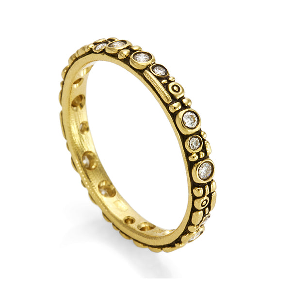 "Alex Sepkus Diamond and 18K Yellow Gold ""Mini 62"" Eternity Band"