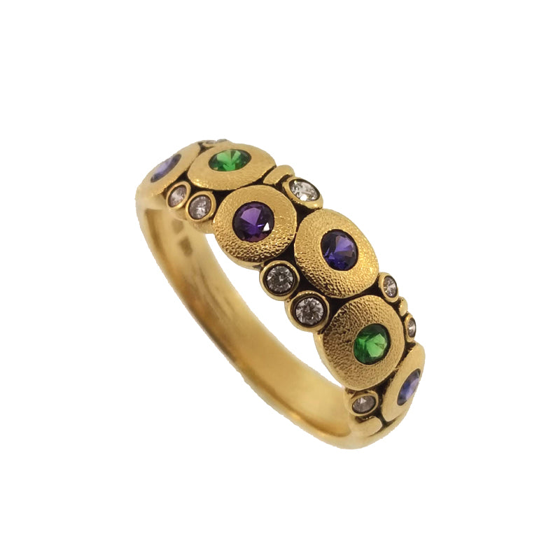 "Alex Sepkus Tsavorite Garnet, Sapphire and Diamond ""Candy"" Ring"