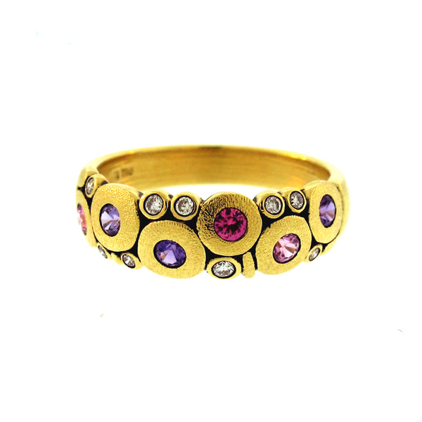 "Alex Sepkus 18K yellow gold ""Candy"" ring with 9 round bezel set diamonds (0.12ctw) and 6 round bezel set pink and purple sapphires (0.50ctw)"