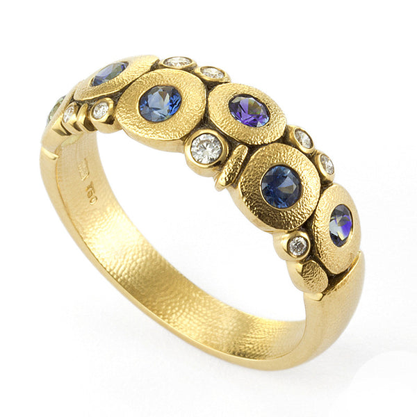 "Alex Sepkus Diamond and Blue Sapphire Mix ""Candy"" Ring"