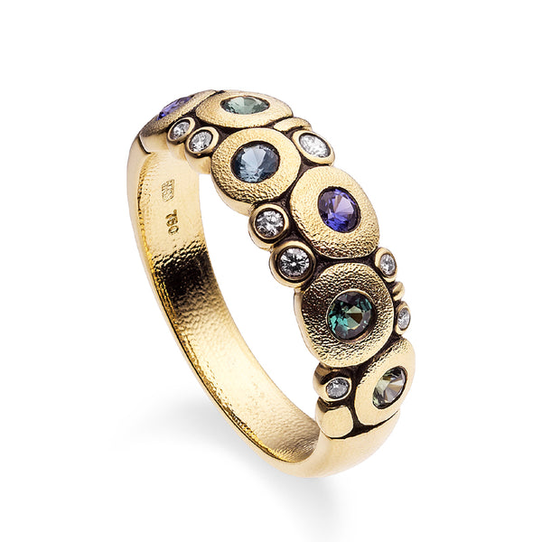 "18K yellow gold ""Candy"" ring with diamonds, alexandrites, and sapphires"