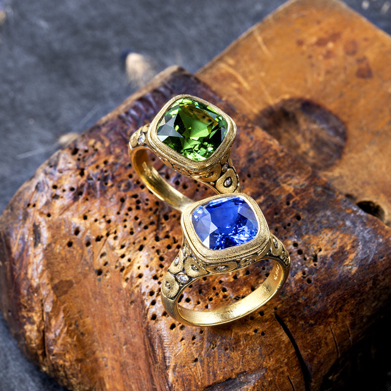"Alex Sepkus Sapphire and Diamond ""Orchard"" Ring paired with green gem ring"