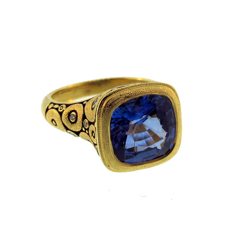 "Alex Sepkus Sapphire and Diamond ""Orchard"" Ring with square sapphire"