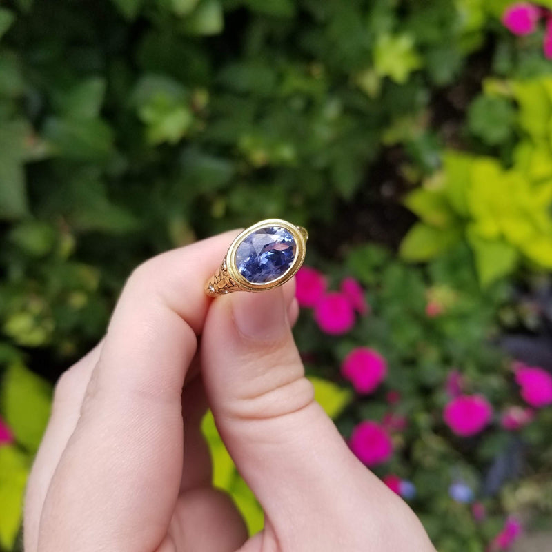 "Alex Sepkus Sapphire and Diamond ""Mosaic"" Ring in natural light"