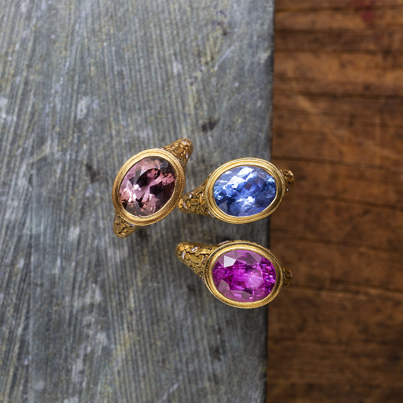 "Alex Sepkus Sapphire and Diamond ""Mosaic"" Ring with ovular gem rings with different gemstones"