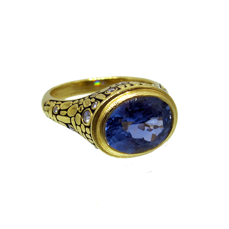 "Alex Sepkus Sapphire and Diamond ""Mosaic"" Ring with large oval sapphire gem"
