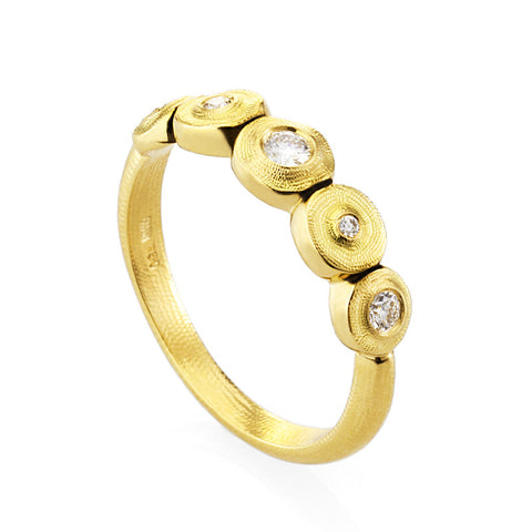 Alex Sepkus Diamond and 18K Yellow Gold Five Seed Ring R210D