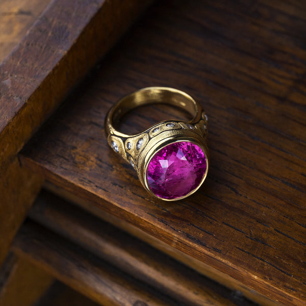 "Alex Sepkus Pink Tourmaline and Diamond ""Indra"" Ring with hot pink gem"