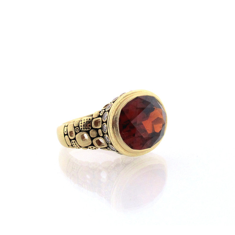 Alex Sepkus Hessonite Garnet Diamond and 18K Yellow Gold Little Windows Ring R-90