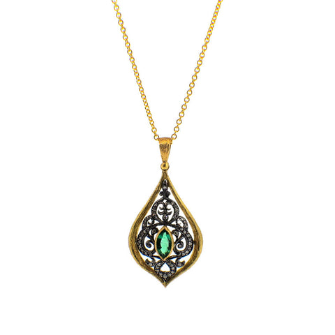 Arman Sarkisyan Emerald, Diamond, 22K Gold and Sterling Silver Pendant