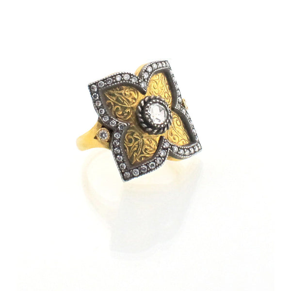 Arman Sarkisyan Diamond, 22K Gold and Sterling Silver Ring
