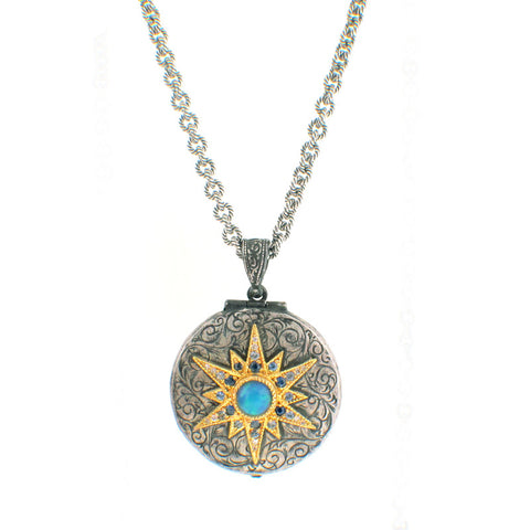 Arman Sarkisyan Opal, 22K Gold and Sterling Silver Locket