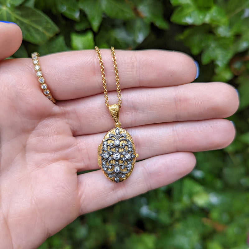 Arman Sarkisyan Diamond, 22K Gold and Sterling Silver Lace Locket