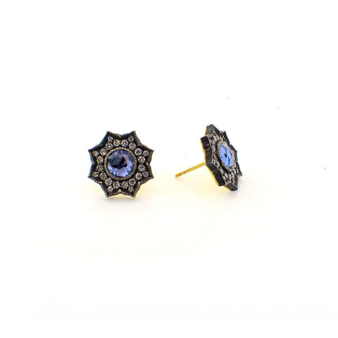 Arman Sarkisyan Sapphire, 22K Gold and Sterling Silver Earrings