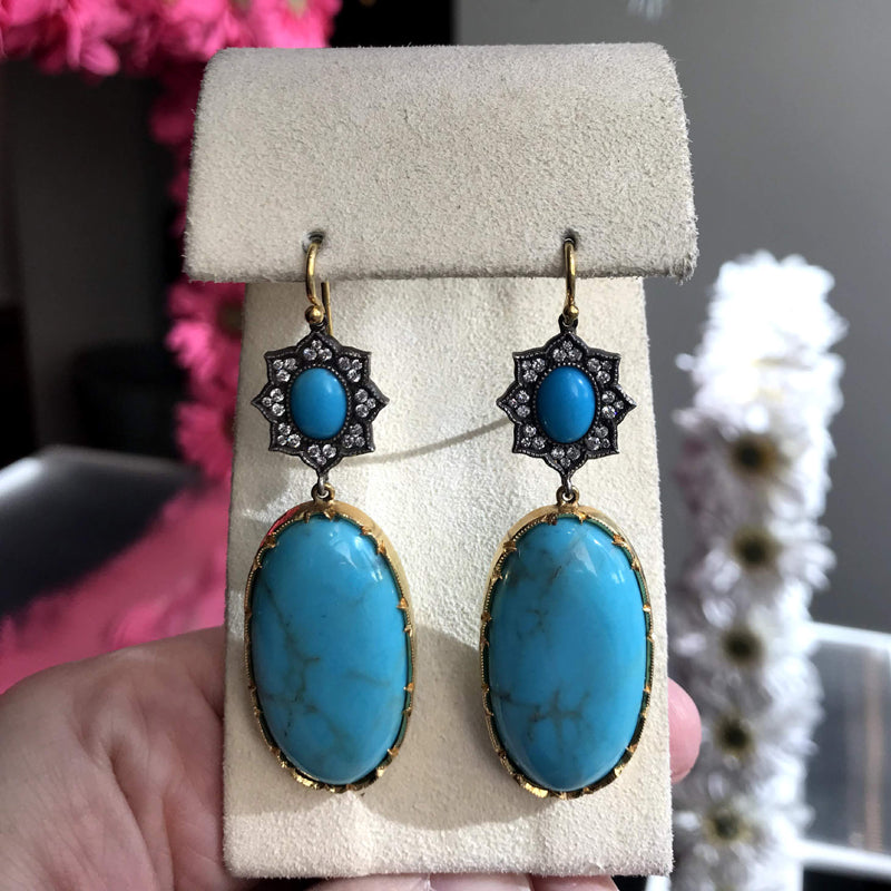 Arman Sarkisyan Turquoise and Diamond Earrings