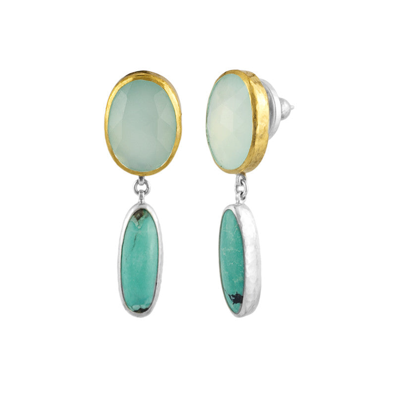 Gurhan Aqua Chalcedony, Turquoise, 24K Gold and Sterling Silver Earrings