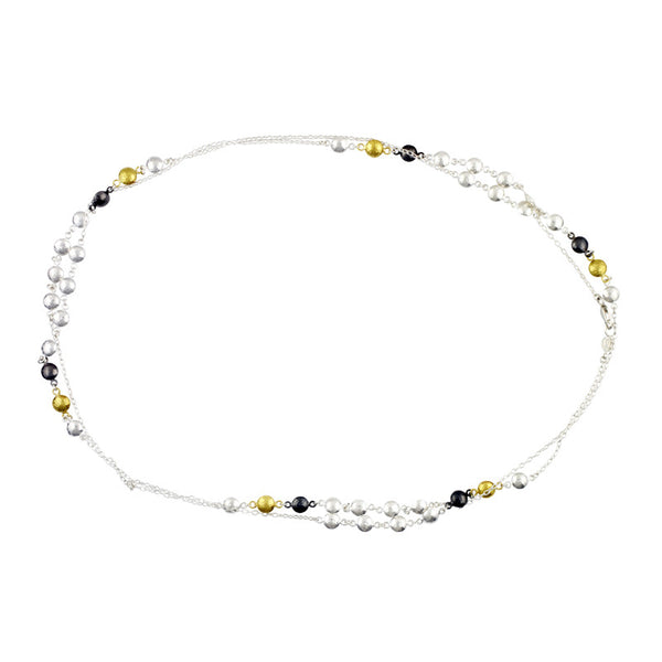 Gurhan Tri-Color 24K Gold Sterling Silver and Oxidized Sterling Silver Necklace