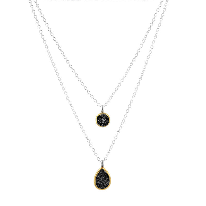 Gurhan Drusy Quartz 24K Gold and Sterling Silver Double Pendant Necklace